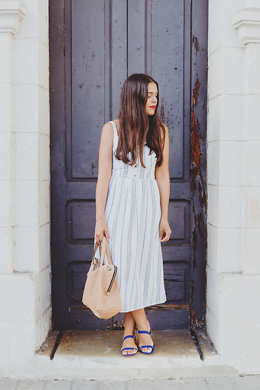 Nydia Enid - Old Navy Striped Midi Dress, Zara Flat Sandals - Striped Midi Dress