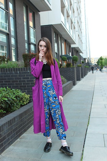 Chelsea Jade - East End Thrift Store Coat, Monki Trousers - Long Coat, Blue Trousers