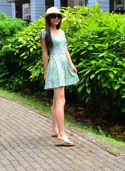 Julie Tao - Ardene Hat, Stitches Green Floral Dress, Ardene Flip Flops, Sears Sunglasses - Not Ready