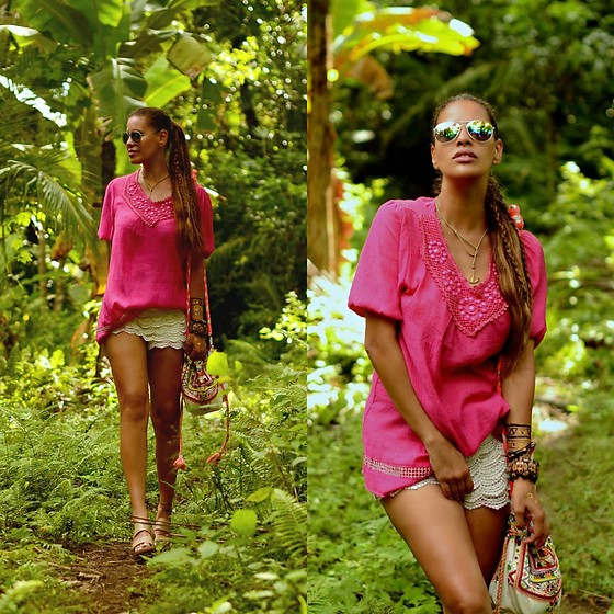 Tamara Chloe - Jacky Luxury Bag, Zara Shorts, Myca Couture Chain - Pink Bohemian
