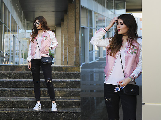 Diana Ior - Stradivarius Bomber Jacket, Zara Top, H&M Ripped Jeans, Adidas Superstar, Primark Sunglasses, New Look Shoulder Bag - Higher