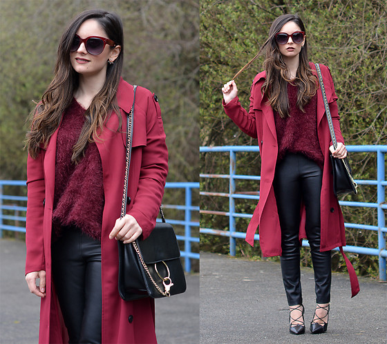 Alba . - Sheinside Trench, Chicwish Sweater, Justfab Bag - Burgundy Trench