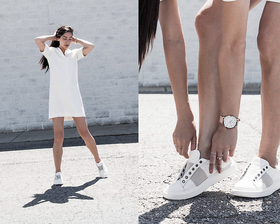 Kristina - Fabrizio Gianni All White Sheath Dress, The Time Keepers Pastel Timepiece, K D'angelo Stack Diamond Rings, Otbt White Normcore Sneakers - Sport whites