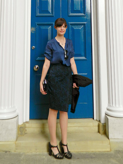 Charley Ellis - H&M Navy Silk Shirt Blouse, Matalan Navy & Black Skirt, Forever 21 Black Leather Heeled Sandals - Jam Wedding