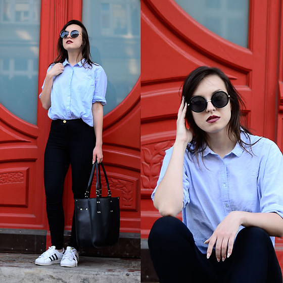 Daria R. -  - Baby blue shirt, high waist trousers, white sneakers