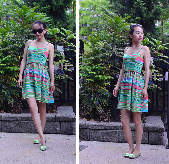 Julie Tao - Streetwear Society Dress And Belt, Aldo Short Necklace, Got It From Shanghai Green Flats - Watermelon Horizon