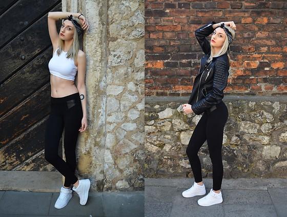 Connie W. Zara Black Leather Jacket, Nike Air Force 1