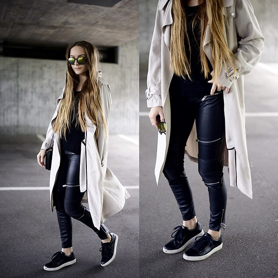 Anna R - Zara Trenchcoat, Zara Leather Pants, Kiomi Sneaker - Summer Trenchcoat & Biker Pants