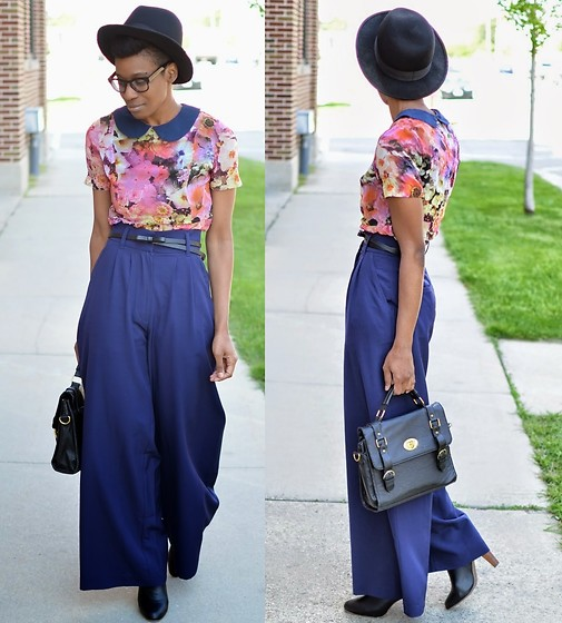 Sushanna M. - Multi Color Floral Dress, Navy High Waisted Palazzo Pants, Black Satchel, Wooden Heel Pull On Boots, Warby Parker Tortoise Key Hole Glasses - Fresh Watercolor