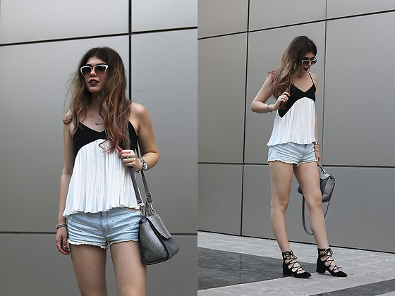 Diana Ior - Zara Pleated Top, Pull & Bear Denim Shorts, Stradivarius Lace Up Sandals - Amplified
