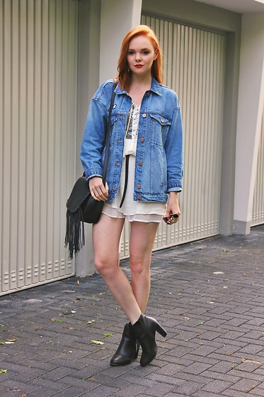 Jana W - Monki Denim Jacket, Mango White Dress, New Look Bag - Denim Jacket & A Little White Dress
