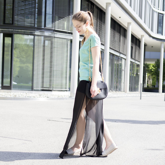 Ina Nuvo - Chloé Drew Bag, Hallhuber Silky Mint Top, H&M Semi Transparent Maxi Skirt, Hallhuber Espadrilles With Glitter - Mint & Black