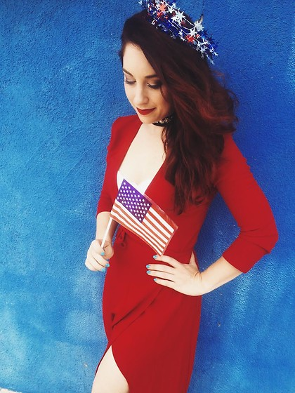 Erin Ashley Goldman - American Apparel Wrap Dress, Target Lace Bralette - Lady Liberty in Red