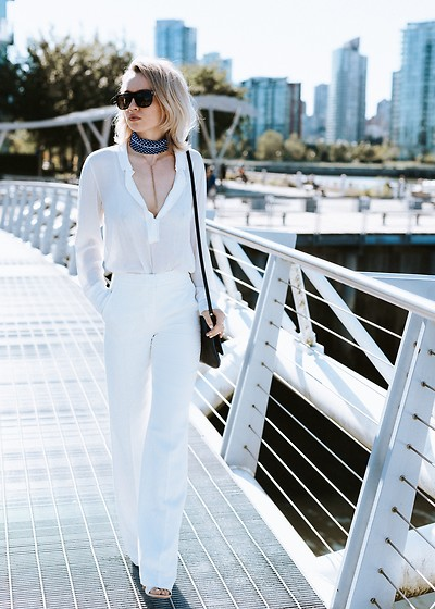 Jessica Luxe - Super Sunglasses, Banada, Sarah Mulder Necklace, White Blouse, Nordstrom White Trousers - How to Nail Travel Chic