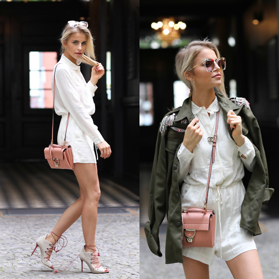 Caro Daur - Paul And Joe Sister Jumpsuit, Malone Souliers Shoes, Coccinelle Bag, Asos Jacket, Fendi Sunnies - White Jumpsuit | Berlin