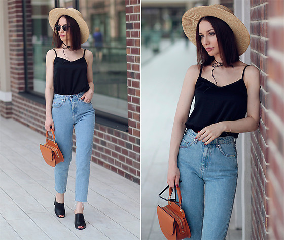 Sonya Karamazova - Pull & Bear Jeans, Janessa Leone Hat - CAMI TOP AND MOM JEANS