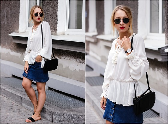 Emilia Błaszczyk - H&M Blouse, Moodo Skirt, H&M Shoes, Daniel Wellington Watch, Ray Ban Sungalsses - Jeans skirt style