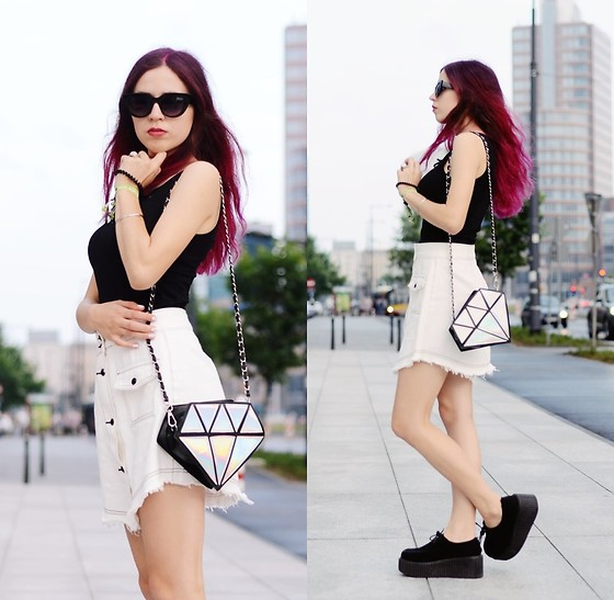 Ola Brzeska - Sinsay Glasses, Zaful White Denim Skirt, Banggood Diamond Bag, H&M Lace Up Top, Demonia Creepers - White jeans