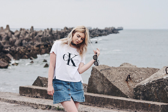 Elza B - Calvin Klein T Shirt, Zara Denim Skirt, Asos Choker - Closer