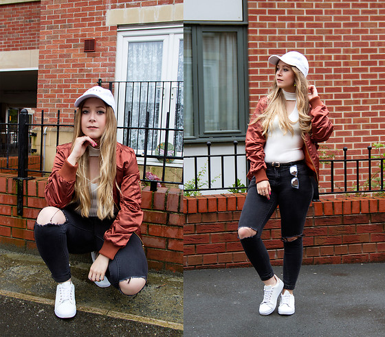 Emma Reay - Bangood Baseball Cap, Wearall White Bodysuit - The Metallic Bomber