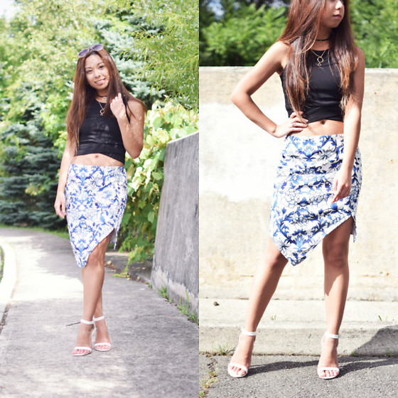 Melanie P. - Zaful Crop Top, Cndirect Asymmetrical Pencil Floral Skirt - Styling Zaful Crop Tops