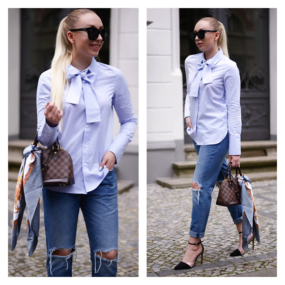 Vanessa Kandzia - Boyfriend Jeans, Blouse - DRESS UP YOUR HANDBAG WITH A SILK SCARF