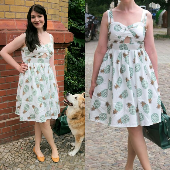Caliope - Rosegal Pineapple Dress, H&M Ballerina Flats, Jean Louis Scherrer Green Retro Bag - Pineapple Punch