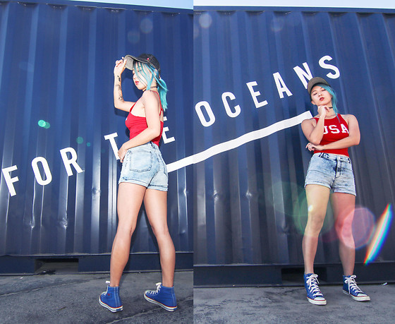 Jin Jung - Levi's® Baseball Cap, Zara Crop Top, H&M Shorts, Keds Sneakers, Nasty Gal Choker - For The Oceans