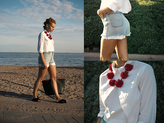 Jasmin Valta - Mango Red Statement Necklace, Zara White Shirt, American Apparel Denim Shorts, Zara Black Bag With Red Inside, Mango Fringe Flip Flops, Diy White Shorts (Showing Under Denim) - Differed kind of statement jewelry