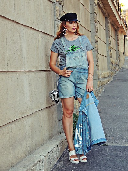 Daniela Macsim - Topshop Playsuit, Bershka Sandals, Rena Bag, Atmosphere Cap - Denim playsuit on the streets