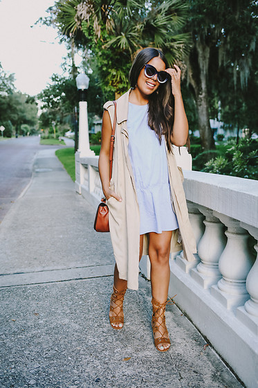 Nydia Enid - Zara Neutral Long Vest, Zara Light Blue Dress - Summer Blues
