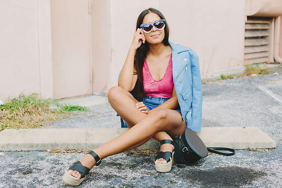 Nydia Enid - Zara Faux Leather Jacket, Honey Punch Pink Bodysuit, Pull & Bear Espadrille Platforms - CRISS-CROSS BACK