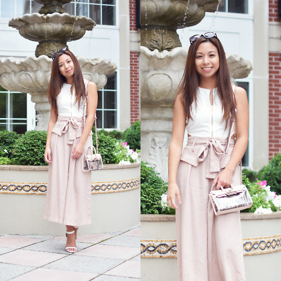 Melanie P. - Missguided Crop Top, Dezzal Wide Leg Bowknot Pants, Mohzy Mini Tech Bag From Ifchic - Romantic Pinks