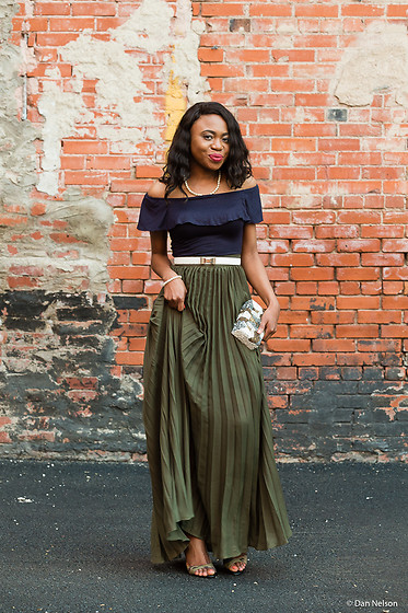 Louisa Moje - Romwe Army Green Full Pleated Maxi Skirt, Romwe Navy Blue Off Shoulder Crop Top, Asos White Beaded Embellished Skinny Belt, Shoedazzle Military Green Open Toe Sandals - Wedding Guest Outfit: Pleated Maxi Skirt