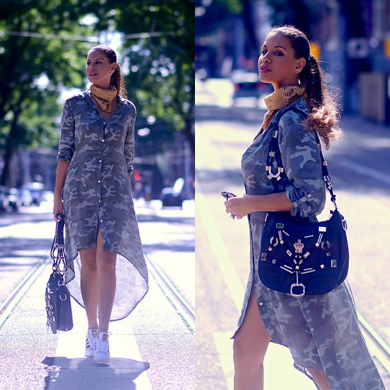 Tamara Chloe - Gucci Bag, Adidas Sneakers, Wear Open Dress - High - Low Camouflage
