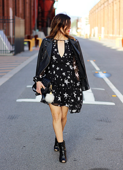 Emily S - Boohoo Star Print Dress, The Iconic Black Leather Jacket, Black Ankle Boots - Star Print