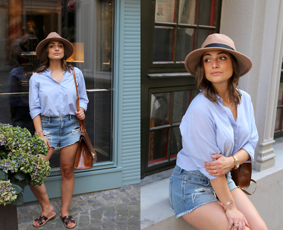 Clarissa C. - H&M Blue Blouse, Pacsun Denim Shorts, Only Beige Hat - Summer in the City