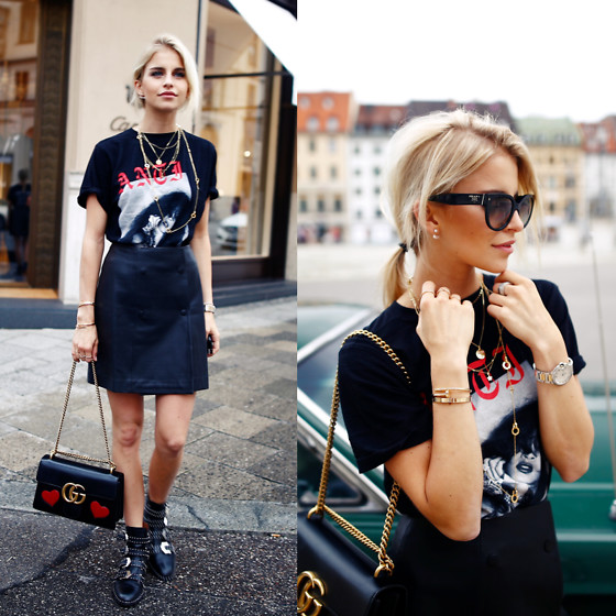 Caro Daur - Rihanna Merch, Gucci Marmont, Givenchy Shoes, Prada Sunnies, Cartier Bracelet - RIRI & Gucci