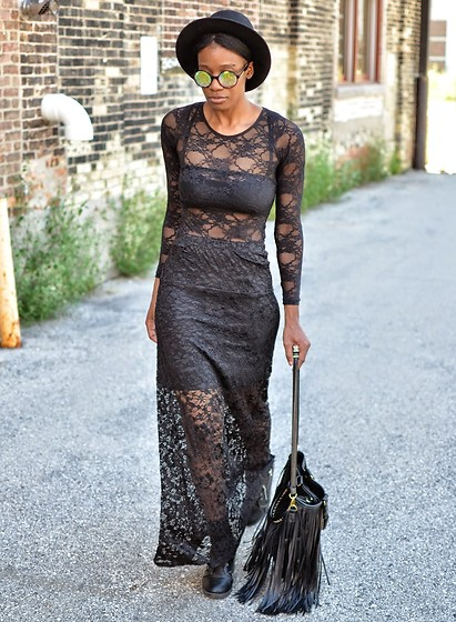 Sushanna M. - Zerouv Kaleidoscope Sunglasses, Black Sheer Floral Lace Maxi Skirt - The Devil Wears Lace