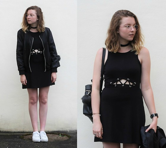 Astrid H - H&M Dress, Sammydress Bomber Jacket, Pull & Bear Sneakers - COMFY BLACK DRESS