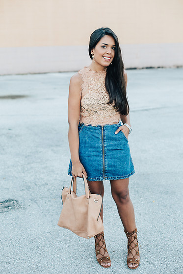 Nydia Enid - Zara Lace Top, Zara Denim Skirt, Asos Lace Up Heels - Silver Love // OOTD