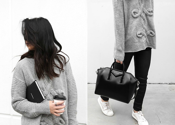 Kristy Wu - Givenchy Antigona - LEATHER TROUSERS + GREY KNIT
