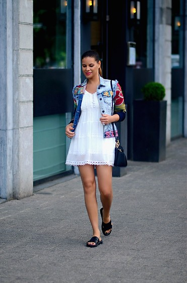 Tamara Chloe - Jacky Luxury Dress, Desigual Jacket, Michael Kors Bag - Little White Dress