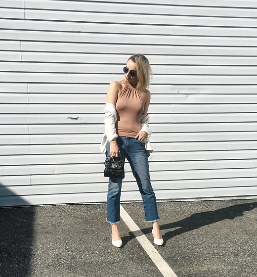 Jessica Luxe - Top, Jacket, Gap Jeans, Spring Heels, Mini Bag - Sunned Shoulders
