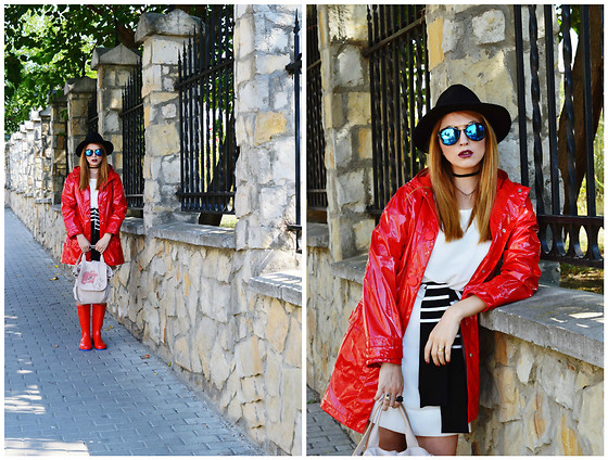 Daniela Macsim - Oldcom Rain Boots, Zaful Sunnies, Primark Rain Cape, Rena Bag - Rainy Day in red