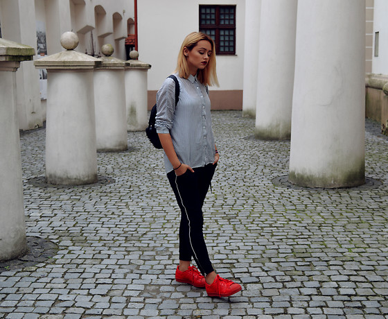 Sabina Bacevich - H&M Low Crotch, Zip Up Sweatpants, Adidas Red Sneakers, Zara Asymmetrical Shirt - New look