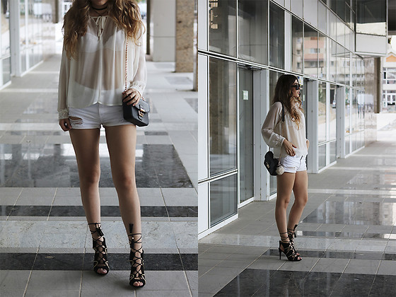 Diana Ior - Forever 21 Sheer Top, Stradivarius Denim Shorts, Missguided Lace Up Heels - Once Again