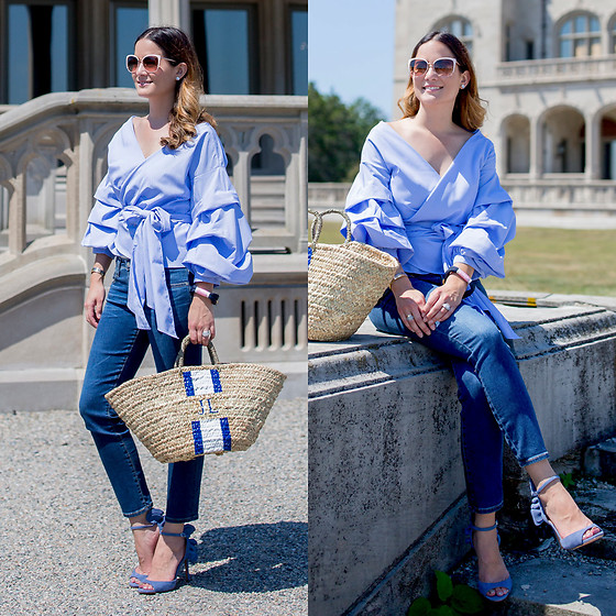 Jenn Lake - Stylekeepers Blue Ruffle Wrap Top, Lindroth Designs Bags Lyford Tote, Ag Jeans The Stilt Cropped Denim, Banana Republic Blue Ruffle Jackie Heels, The Ropes Maine Bracelet, Kate Spade Pink Cat Eye Sunglasses - Blue Ruffle Sleeve Wrap Top