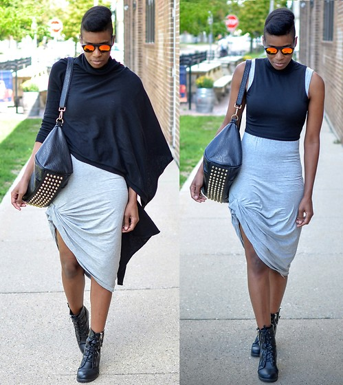 Sushanna M. - Zerouv Red Yellow Sunglasses, Thrifted Black Asymmetrical Cardigan, Black Crop Top, Grey Tank Dress, Black Buckled Zippered Ankle Boots - Glass Half Empty