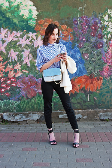 Anna Puzova - Zaful Blouse, H&M Pants, H&M Blazer, Bakers Sandals, Zaful Bag - Light Blue Touch with ZAFUL